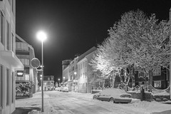 At Night (Thomas James Caldwell) Tags: reykavik iceland city street winter cold snow avenue road car light desolate empty urban trees monochrome night dark tree building