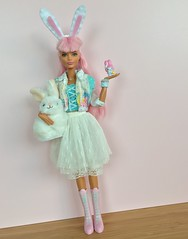 Bunny Barbie! (Emilypm3) Tags: pinkhair kawaii bunnycostume rabbitears bunnyears curvybarbie fashionista madetomove barbiedoll barbiestyle barbie