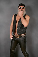 LEATHER GEAR (Cowboy Tommy) Tags: leather leathervest black studs studded belt skull crossbones beltbuckle beard muscle muscles bulge crotch hairy pubes pubichair tight package leatherpants sex sexy rugged manly portrait