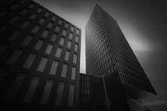 Beat the noise (blondmao) Tags: fineart building bnw switzerland facade grosspetertower noperson monochrome tower architecture longexposure bw blackandwhite dark basel