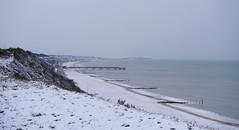 Snowy beach to Boscombe (SteveJM2009) Tags: snow snowy beach cliffs bournemouth boscombe pier sea weather march 2018 dorset uk stevemaskell