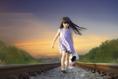 DAN_2678 (idanupong) Tags: away railway woman girl person railroad rail alone walk transportation train one run way track road shoes adventure long vintage line hot independence journey life across dress haunted concept urban waiting child kid target view scared rushing trip rush out platform rails commute clothes baggage station displeased negativity disappointed cry