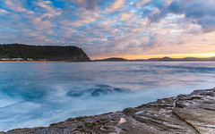 Sunrise Seascape with Cloud and Rock Ledge (Merrillie) Tags: daybreak sunrise nature dawn rocky centralcoast morning sea newsouthwales rocks pearlbeach nsw water waterscape ocean earlymorning landscape cloudy coastal clouds outdoors seascape australia coast sky waves