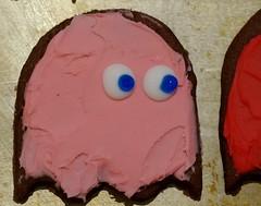 Gus's birthday cookies - Pacman theme, close up of Pinky (Niki Gunn) Tags: pentax k5 march 2018 tamron 90mm macro tamron90mmmacro tamronspaf90mmf28 tamron90mm tamron90mmf28 pacman ghost cookies pinky