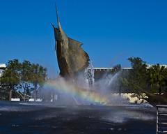 Sailfish rainbow (back stage) Tags: rainbow sailfish water fountain sculpture sky blue ftlauderdale florida