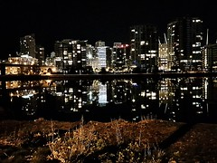 Yaletown late at night (walneylad) Tags: vancouver britishcolumbia canada yaletown falsecreek buildings condos cityscape skyline night dark lights water reflections april spring evening urban city cambiestreetbridge street scenery view