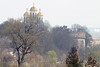 Ancient cathedral and tower in Ostroh (vitaliy_bondarchuk) Tags: nopeople horizontal sky trees cross golden dome faith religion church cathedral tower travel tourist ukraine ostroh
