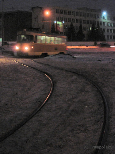 Вечерний пейзаж с трамваем ©  ayampolsky