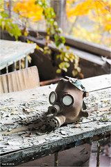 In a Pripyat School (Aad P.) Tags: chernobyl чорнобиль pripyat припять ukraine україна sovietunion cccp nuclearpowerplant radioactivity radiation urbex urbexphotography exclusionzone school classroom gasmask