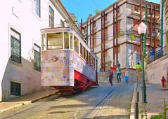 Lisbon tram (Pantchoa) Tags: lisbonne portugal calçadadagloria tram rails vielle immeubles maisons gens décoration façades ville photoderue rue relief pente montée colline pantchoa pantxoa