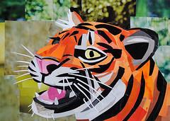 I am Tiger Hear Me Roar (Megan Coyle) Tags: tiger tigerart tigercollage zooart zooanimals roar greatcat cats organe black stripes stripedcats art collage collageart cutandpaste magazinecollage paintingwithpaper paperart papercollage megancoyle coylecollage