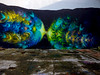 Overground and Underwater (Steve Taylor (Photography)) Tags: cracked jagged fish art graffiti mural streetart wall colourful concrete paint aerosol spray newzealand nz southisland canterbury christchurch newbrighton shape circle rubbish