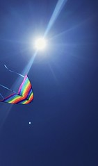 Flying paper kite 🎐 #nature #sky #blue #rainbow #sun #kite #paper #fly (chaymaars97) Tags: nature sky blue rainbow sun kite paper fly