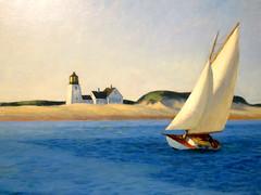 My favorite painting at The Huntington. (vickilw) Tags: thehuntington painting ocean sea sky water beach sail sailboat boat lighthouse 33118 332018