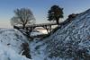 Old Sarum Snow (Crisp-13) Tags: snow old sarum bridge moat salisbury wiltshire cathedral spire tree