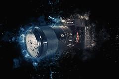 Oh crap,.. my camera! (Wim van Bezouw) Tags: sony ilce6000 ilce7m2 camera explosion photoshop object blackbackground