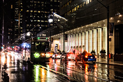 Rocket Through The Rain (A Great Capture) Tags: agreatcapture agc wwwagreatcapturecom adjm ash2276 ashleylduffus ald mobilejay jamesmitchell toronto on ontario canada canadian photographer northamerica torontoexplore winter l'hiver 2017 city downtown lights urban night dark nighttime colours colors colourful colorful cityscape urbanscape eos digital dslr lens canon 70d reflection mirror glass outdoor outdoors illuminate lighting vibrant bright streetphotography streetscape photography streetphoto street calle darkness nocturnal red rocket redrocket ttc torontotransitcommission streetcar rain raining rainy traffic