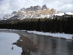 Castle Mountain (Mr. Happy Face - Peace :)) Tags: scenery lakelouise cans2s albertabound canada snowcaps rockymountains yyc flickrfriday flickrfriends landscapes sky river clouds forest trees banff banffpark parkscanada art2018 7dwf theme