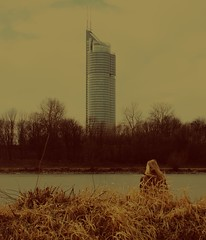Pile of thoughts (christina.arch) Tags: river water woman trees austria vienna danube skyscraper sky mood yellow