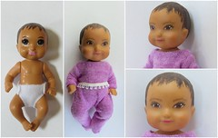 4. Babysitter Baby Before/After (Foxy Belle) Tags: barbie baby babysitter 2018 repaint makeover face colored pencil pastels change ooak hispanic