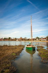 Tethered at High Tide...... (inkslinger15) Tags: bluesky boats bosham hightide jetty westsussex tethered shoreroad green reflection village southcoast sky