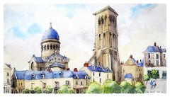 Tours - France (guymoll) Tags: googleearthstreetview croquis sketch église loire centre france aquarelle watercolour watercolor