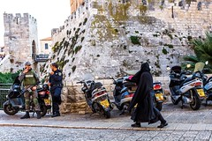Jerusalem old town (Monica@Boston) Tags: travel weapon israel soldier motorcycle woman walking police culture jerusalem oldtown street people
