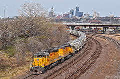"Westbound Transfer in Kansas City, KS (""Righteous"" Grant G.) Tags: up union pacific railroad railway west westbound emd power locomotive train trains kansas city missouri transfer freight yard job"