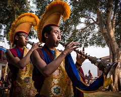 """The Cham ("""" Those who wish to sing....always find a song """") Tags: monastery trumpets monks festival religion music bon tibet nikonphotographers womanphotographers throughherlens travelphotography culture"""