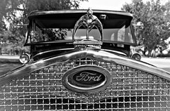 1930 Model A Ford (amarilloladi) Tags: hmbt mbt grille monochromebokehthursday 7dwf bokeh monochrome blackandwhite bw hoodornament modelaford 1930 ford automobile car vintage
