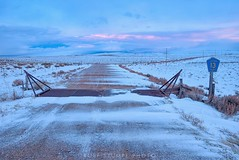 Jackson County, Colorado (rolfstumpf) Tags: usa colorado walden jacksoncountyroute13 road roadsign 13 openrange winter snow bluehour sunset sky clouds landscape cold empty peaceful olympus roadtrip roadtravel rural blue