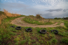 Evening with five tires. (Yasuyuki Oomagari) Tags: weed road sunset curve tire riverside bank cloud pastral peace peaceful nikon d850 zeiss distagont2821 japan fukuoka landscape rural 日本 九州 福岡 風景写真 川辺 夕日