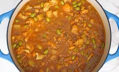 Vegetable Curry (urs_ski) Tags: vegetable curry garam masala onion potato garlic ginger jalapeno cauliflower tomatoes chickpeas edamame peas coconut milk vegetarian vegan indian stew