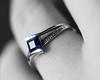 She said Yes! (bharathputtur122) Tags: macromondays theblues macro mondays engagement ring blue sapphire selective monochrome stone square cut diamond