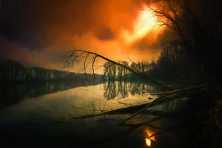 dark morning at the lake