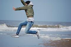 DSC_0022 Springtij? (marcnico27) Tags: jump shore strand beach northsea noordzee zandvoort man male outdoor sky wet 2018 jeans legs
