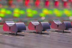 Mix Desk (lgflickr1) Tags: mixdesk sony dubstage faders lights longexposure colorful coloredlights macro milvus zeiss lowlight work manualfocus closeup green red silver postproduction mixstage 100mm indoors bokeh dof d750 nikon studio blur