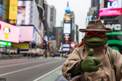 Michelangelo In Disguise (MadMartigen) Tags: ny newyork manhattan timessquare newyorkcity nyc ninjaturtles michelangelo teenagemutantninjaturtles neca necatoys toy actionfigure