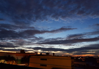 Fall sunset from a building roof, SCS, São Paulo, Brazil.