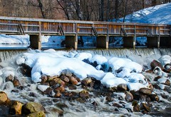 Waterfall Composition (bjorbrei) Tags: river stream waterfall snow rocks bridge wooden woodenbridge walkingbridge trees winter spring frysja kjelsås akerselva akerriver oslo norway