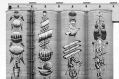 4-way (A Different Perspective) Tags: northam perth airship bali365 balloon concrete detail flight mono mural paint silo wheel wing
