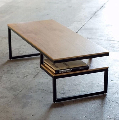 Wrought Iron Coffee Table with Wood Top