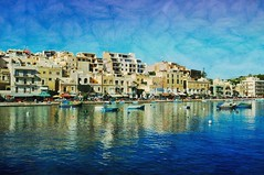 Mediterranean Blue (Jocelyn777) Tags: 1star seascape landscape villages fishingvillage waterreflections mediterranean mediterraneansea reflections marsascala malta travel textured