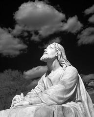 Holy Week (jmhutnik) Tags: infrared cemetery jesus statue stalbans wv cunninghammemorialpark clouds sky trees