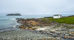Fishing shack (Photosuze) Tags: landscape shack newfoundland canada ocean water rocks desolate sky clouds overcast