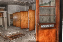 Patients Only! (Michelle O'Connell Photography) Tags: abandoned hospital asylum mentalinstitute victorianmentalinstitution sanitorium building bathroom doors derelictwindowsanddoors urbexgrime urbexexploring lostplaces glasgowphotographer michelleoconnellphotography