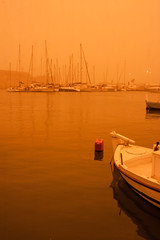 the harbor covered in dust (tasos st) Tags: water sky sea boat canon eos 500d reddust outdoors efs24mm stm nofilter africandust