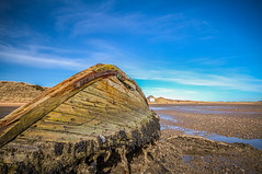 """the wreck shows the way to the boathouse, fine art colour of a glorious spring day, Newburgh Beach, Aberdeenshire, Scotland, UK (grumpybaldprof) Tags: """"fineart"""" ethereal striking artistic interpretation impressionist stylistic style contrast shadow bright illuminated colour colours colourful """"wideangle"""" ultrawide aberdeenshire scotland newburgh """"sandsofforvienaturereserve"""" beach sand sea """"northsea"""" """"ythanriver"""" sky clouds perspective north estuary sun patterns texture landscape seascape wreck wooden boat wrecked boathouse bluesky spring canon 7d """"canon7d"""" sigma 1020 1020mm f456 """"sigma1020mmf456dchsm"""" upsidedown"""