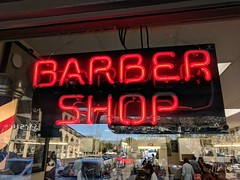 Barber Shop Window (earthdog) Tags: 2018 window sign word neon barbershop googlepixel pixel androidapp moblog cameraphone