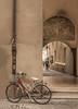 Streets of Bolzano (suzanne~) Tags: bicycle bike bozen italy lonebike arch archway fresco street